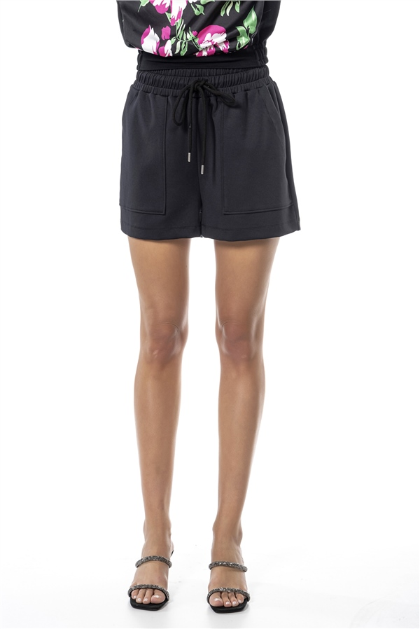 010221 DRAWSTRING JERSEY SHORTS BLACK