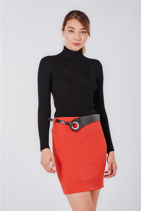 040024 BELTED MINI SKIRT (BLAME) RED