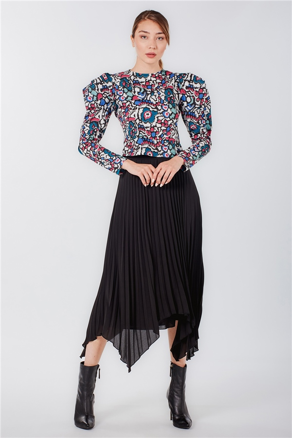070237 PUFF SLEEVE COTTON TOP MULTI COLOUR