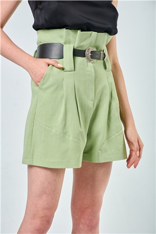 010055 BELTED HIGH WAISTED COTTON SHORTS (TOUGH LOVE) MINT FOAM