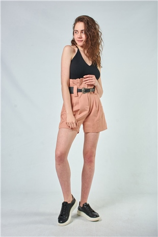 010055 BELTED HIGH WAISTED COTTON SHORTS (TOUGH LOVE) FUDGE