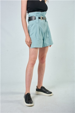 010055 BELTED HIGH WAISTED COTTON SHORTS (TOUGH LOVE) BLUE LEAD