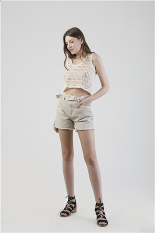 010069 BELTED DENIM SHORT BIRCH