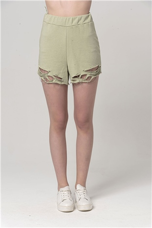 010223 DESTROYED COTTON SHORT SILVER GREEN