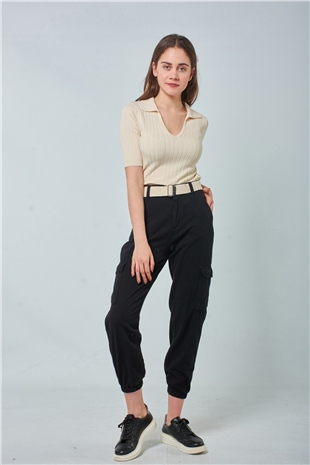 030117 BELTED UTILITY PANTS BLACK