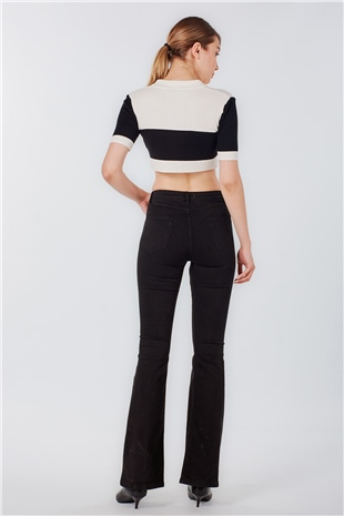 030211 HIGH WAIST DOOZY FLARED JEANS BLACK
