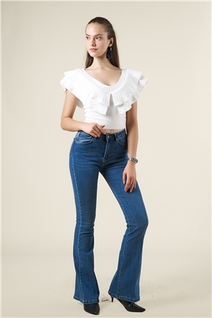 030211 HIGH WAIST DOOZY FLARED JEANS O.BLUE