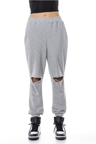 030371 DESTROYED SWEAT PANTS COMPOSITE GREY