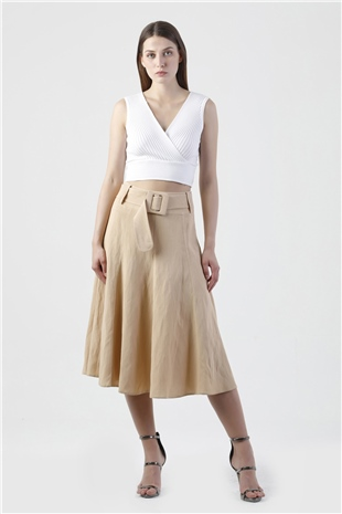 040067 BELTED MIDI SKIRT (KEEP IT COOL) RICH TEA