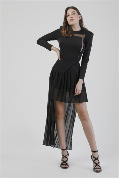 040082 CORSAGE PLEATED CHIFFON SKIRT (BAD ROMANCE)