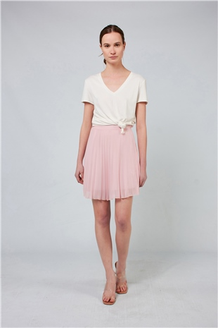 040084 PLEATED MINI SKIRT (TOUGH LOVE) ROSEWATER