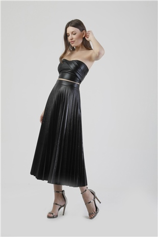040093 PLEATED SKIRT BLACK