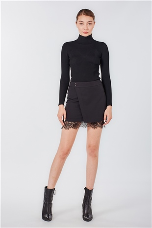 040103 MINI SKIRT WITH LACE CRL110 BLACK