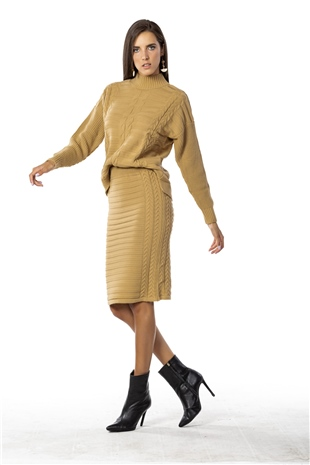 040253 KNIT MIDI SKIRT CAMEL