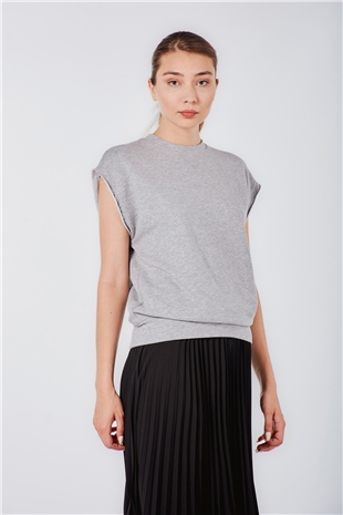 070238 SLEEVELESS COTTON TOP COMPOSITE GREY