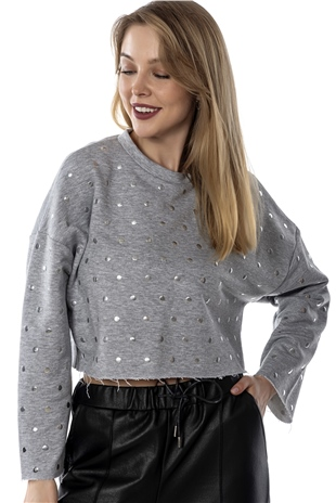 070317 EMBROIRED SWEAT TOP COMPOSITE GREY