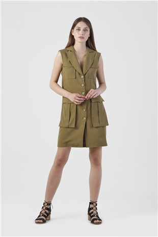 110062 STRUCTURED MINI DRESS (UTILITY) WIDE OLIVE