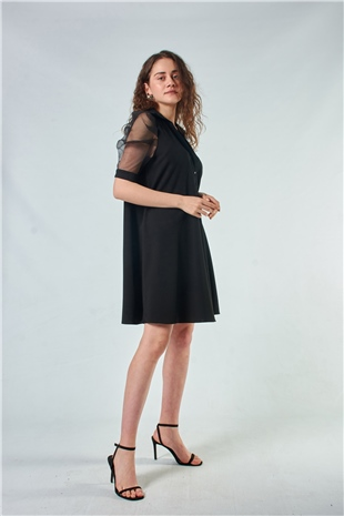 110097 SHORT SHEER SLEEVE DRESS BLACK