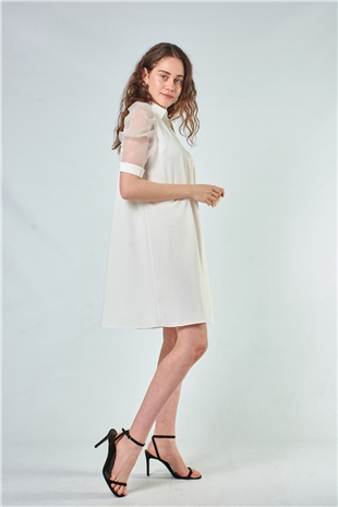 110097 SHORT SHEER SLEEVE DRESS ECRU
