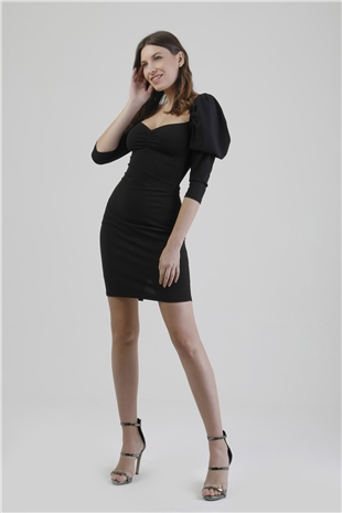 110114 PUFF SLEEVE DRESS WITH NECK DETAILS BLACK