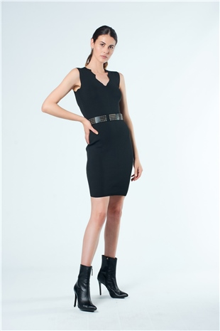 110153 BELTED KNIT DRESS BLACK