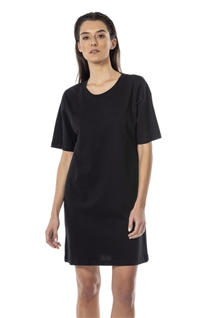 110301 CREWNECK COTTON DRESS BLACK