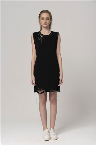110394 DESTROYED COTTON DRESS BLACK
