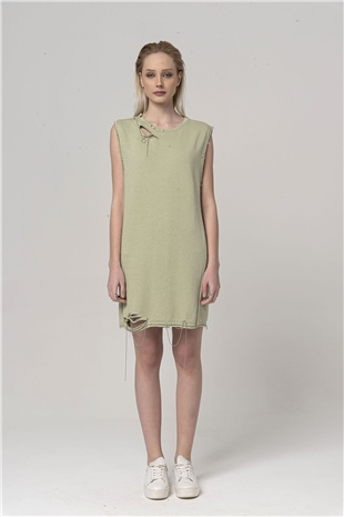 110394 DESTROYED COTTON DRESS SILVER GREEN
