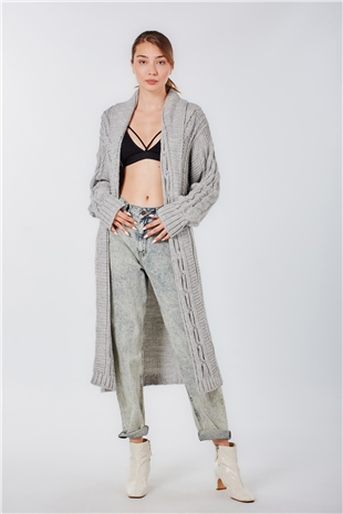 150059 CABLE KNIT CARDIGAN COMPOSITE GREY