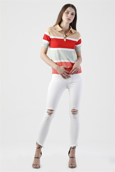 190058 STRIPED POLO NECK KNIT TOP (KEEP IT COOL)
