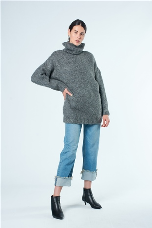190138 TURTLE NECK SWEATER COMPOSITE GREY
