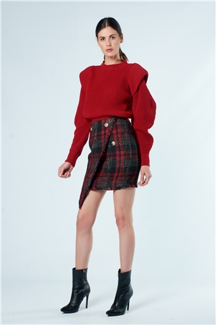 190159 SHOULDER DETAILED KNIT TOP CYBER RED