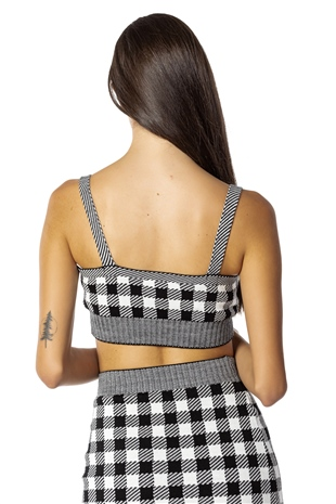 190253 GINGHAM KNIT CTOP TOP BLACK