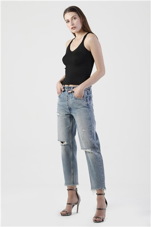 250012 DESTROYED CROPPED JEAN (TOUGH LOVE) O.BLUE