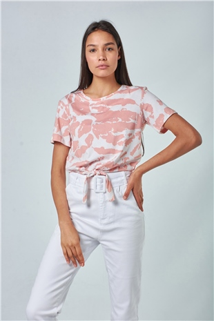 380007 TIE DYE CROP TEE (UTILITY) WHITE- WARM WOOD