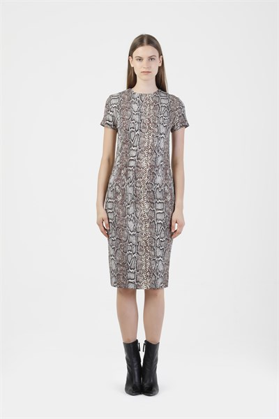 43078 SNAKE PRINT FITTED T-SHIRT DRESS (PROMISE)