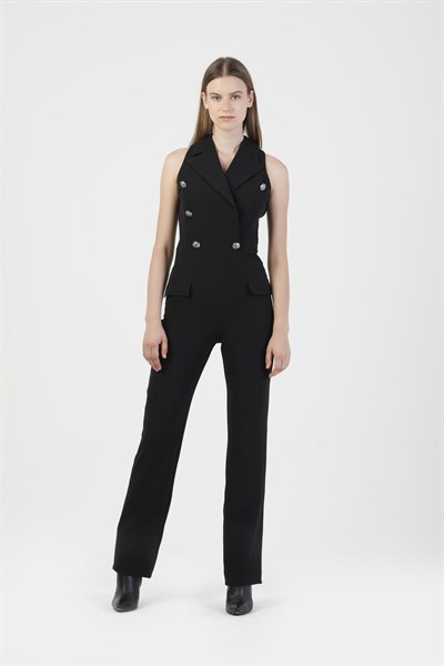 81419 SLEEVELESS DOUBLE BREASTED JUMPSUIT
